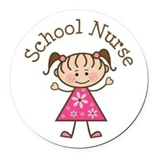 School Nurse Stick Figure Round Car Magnet