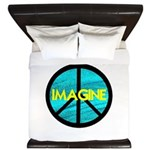IMAGINE with PEACE SYMBOL.psd King Duvet