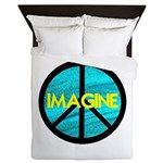 IMAGINE with PEACE SYMBOL.psd Queen Duvet