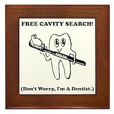 Dentist Cavity Search Black.png Framed Tile