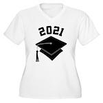 Class of 2021 Grad Hat Women's Plus Size V-Neck T-