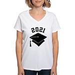 Class of 2021 Grad Hat Women's V-Neck T-Shirt