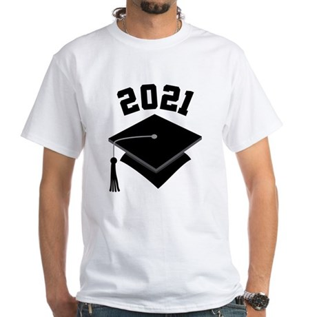 Class of 2021 Grad Hat White T-Shirt