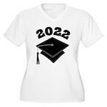 Class of 2022 Grad Hat Women's Plus Size V-Neck T-