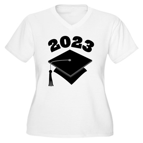 Class of 2023 Grad Hat Women's Plus Size V-Neck T-