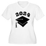 Class of 2024 Grad Hat Women's Plus Size V-Neck T-