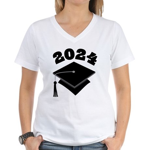 Class of 2024 Grad Hat Women's V-Neck T-Shirt