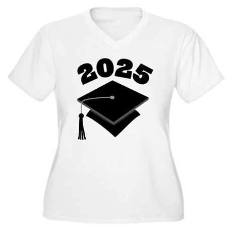 Class of 2025 Grad Hat Women's Plus Size V-Neck T-