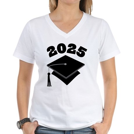 Class of 2025 Grad Hat Women's V-Neck T-Shirt