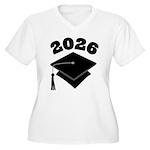 Class of 2026 Grad Hat Women's Plus Size V-Neck T-