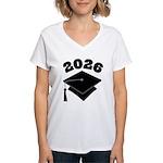 Class of 2026 Grad Hat Women's V-Neck T-Shirt