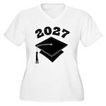 Class of 2027 Grad Hat Women's Plus Size V-Neck T-