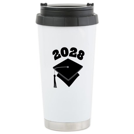 Class of 2028 Grad Hat Stainless Steel Travel Mug