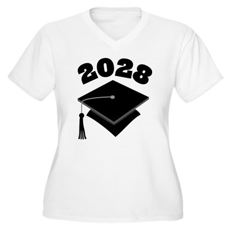 Class of 2028 Grad Hat Women's Plus Size V-Neck T-