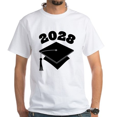 Class of 2028 Grad Hat White T-Shirt