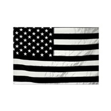 Black and White Flag Rectangle Magnet