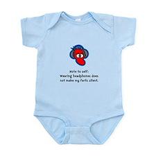 Headphone Farts Black.png Infant Bodysuit