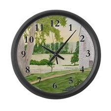 Summer Meadow and Barn Large Wall Clock