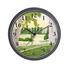 Summer Meadow and Barn Wall Clock