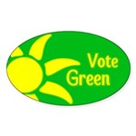Yellow Sun Vote Green Oval Bumper Sticker