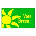 Yellow Sun Vote Green Bumper Sticker