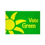 Yellow Sun Vote Green Rectangle Magnet
