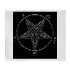 Baphomet-black-background.png Throw Blanket