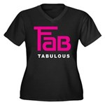 Fab Tabulous Women's Plus Size V-Neck Dark T-Shirt