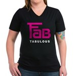 Fab Tabulous Women's V-Neck Dark T-Shirt