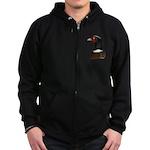 Ringneck Rooster Head Zip Hoodie (dark)