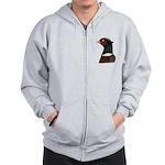 Ringneck Rooster Head Zip Hoodie