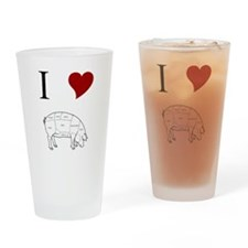I Love Pig Drinking Glass