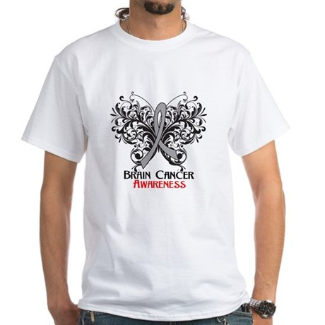 Butterfly Brain Cancer White T-Shirt