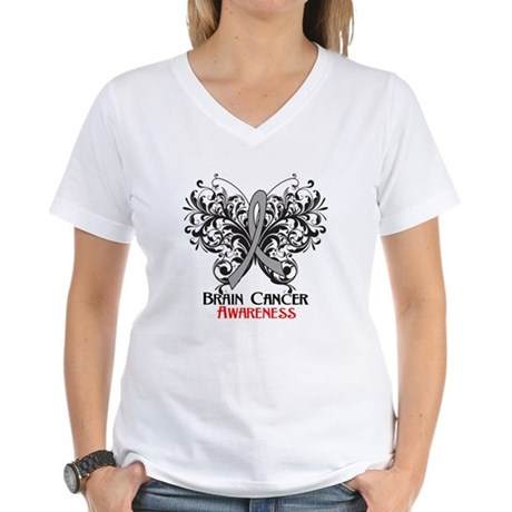 Butterfly Brain Cancer Women's V-Neck T-Shirt