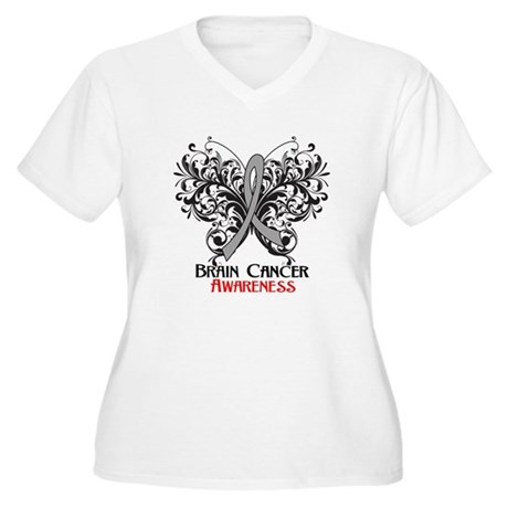 Butterfly Brain Cancer Women's Plus Size V-Neck T-