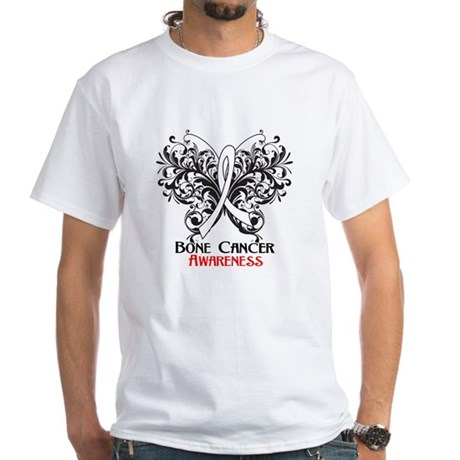 Butterfly Bone Cancer White T-Shirt