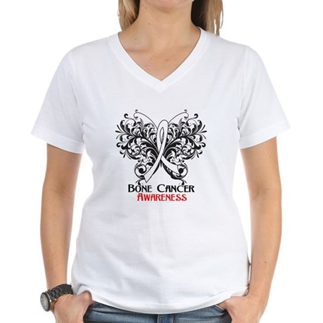 Butterfly Bone Cancer Women's V-Neck T-Shirt