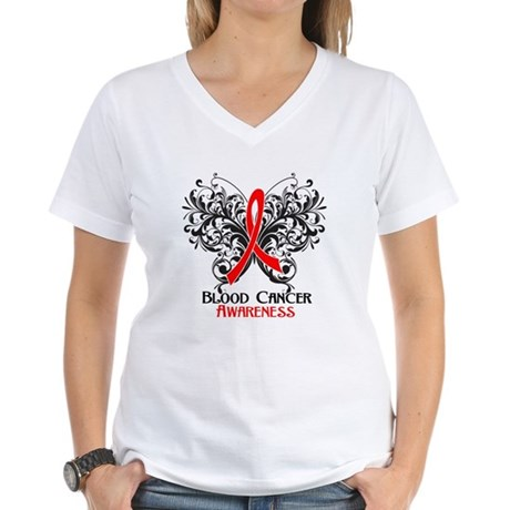 Butterfly Blood Cancer Women's V-Neck T-Shirt