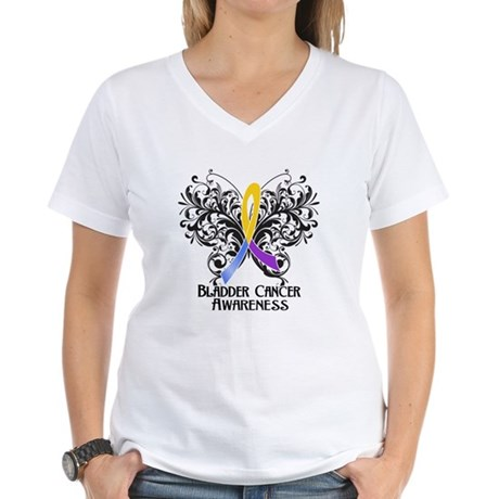 Butterfly Bladder Cancer Women's V-Neck T-Shirt