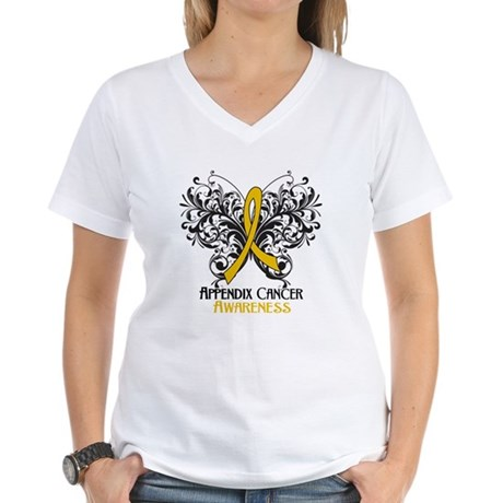 Butterfly Appendix Cancer Women's V-Neck T-Shirt
