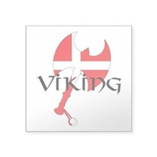 "Denmark Viking Axe Square Sticker 3"" x 3"""