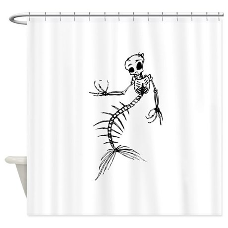 mermaid skeleton shower curtain