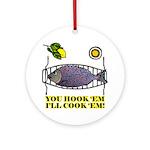 You Hook 'Em Fishing Ornament (Round)