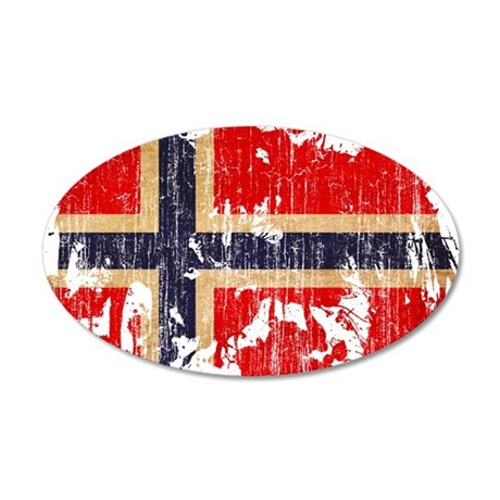 Norway Flag 22x14 Oval Wall Peel