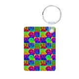 Op Art Doxie Aluminum Photo Keychain