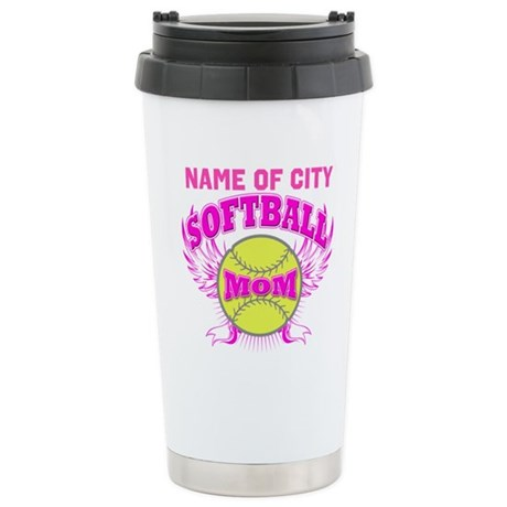 Personalize Softball Mom Ceramic Travel Mug