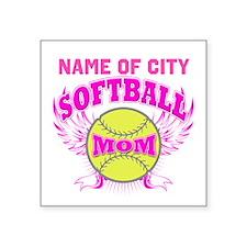 "Personalize Softball Mom Square Sticker 3"" x 3"""