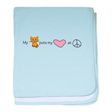 peace love kitty baby blanket