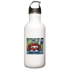 Siamese nighttime moon smile Water Bottle