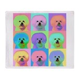 Op Art Bichon Throw Blanket